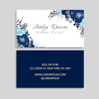 Dark blue flower business cards