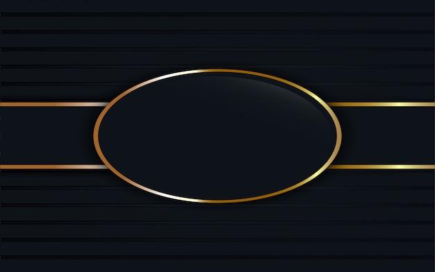 Dark blue glass label on oval golden frame background.