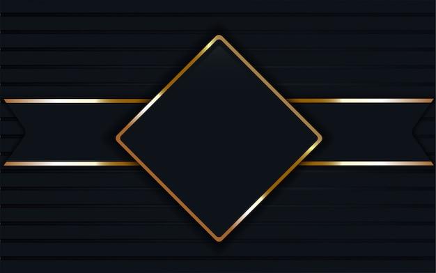 Dark blue glass label on square golden frame background.