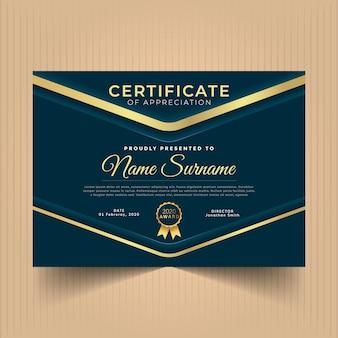 Dark blue and gold certificate design template