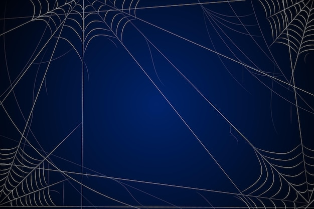 Dark blue halloween background with cobweb