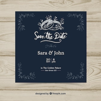 Dark blue hand drawn wedding invitation