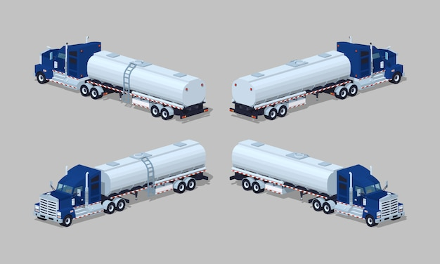 Dark-blue heavy 3d lowpoly isometric truck with tank-trailer