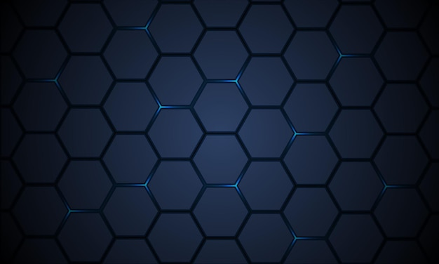 Dark blue hexagonal pattern technology abstract background with bright flashes