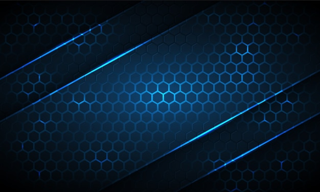 Dark blue hexagonal technology abstract background with neon stripes. light blue bright energy flashes under hexagon in dark technology background.