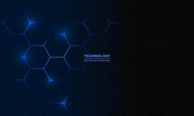 진한 파란색 육각형 기술 벡터 추상적인 배경