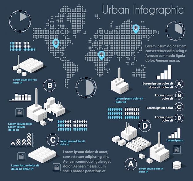 Dark blue illustration infographics