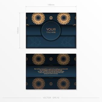 インドの装飾が施された紺色の招待カードテンプレート。印刷やタイポグラフィの準備ができてエレガントで古典的なベクトル要素。