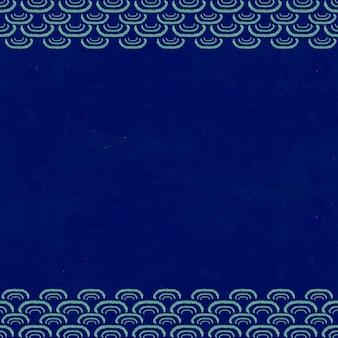 紺色の日本の波模様フレーム、渡辺省亭によるアートワークのリミックス