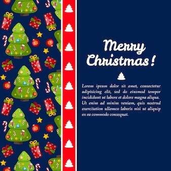 Dark blue merry christmas card with fir trees on left