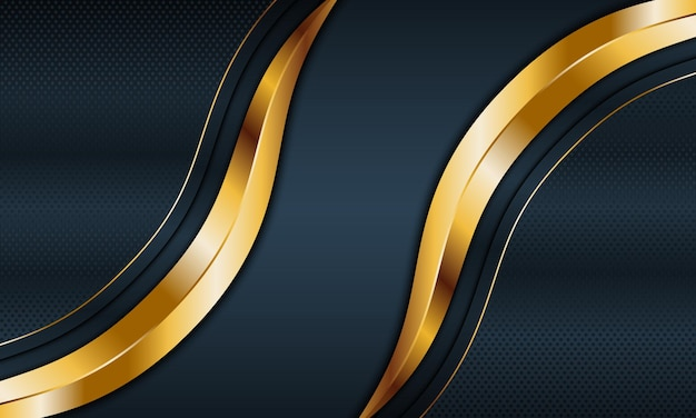 Dark blue metallic and golden stripes wave with lines background vector illustration