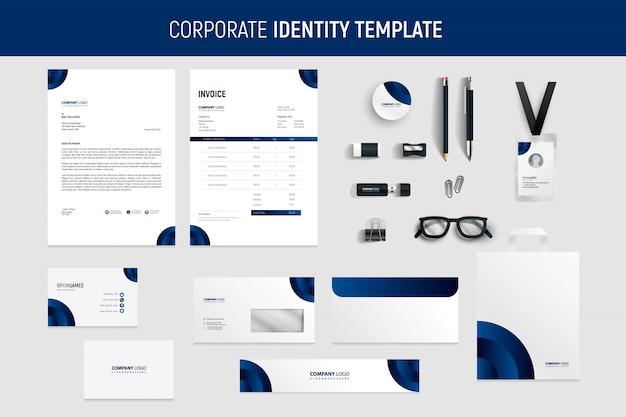 Dark blue modern business stationery set