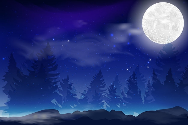 Темно синий ночной фон с полным месяцем, облака и звезды. лунная ночь иллюстрации. milkyway космический фон