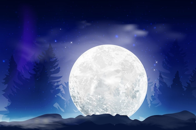 Dark blue night background with full month, clouds and stars. moonlight night.  illustration. milkyway space background