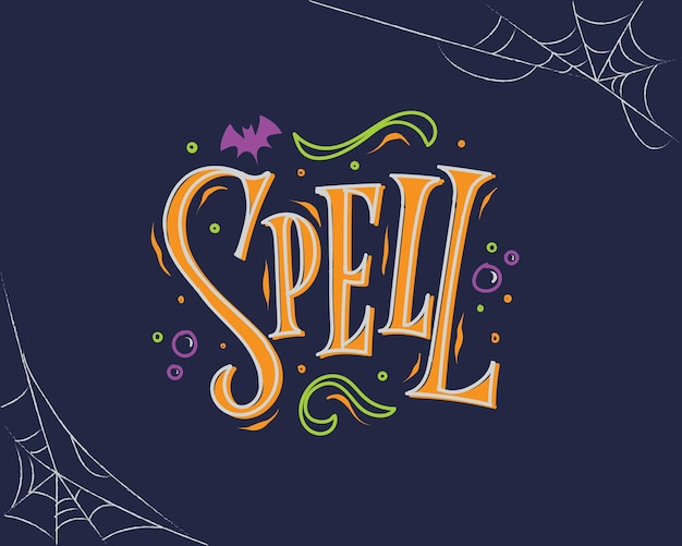 Dark blue and orange spell halloween lettering with spider web background
