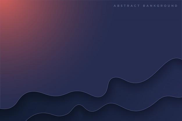 Dark blue paper art cartoon abstract waves
