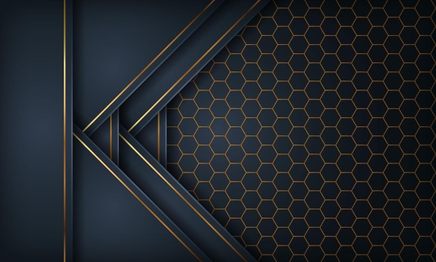 Dark blue paper style with gold line on hexagon pattern background