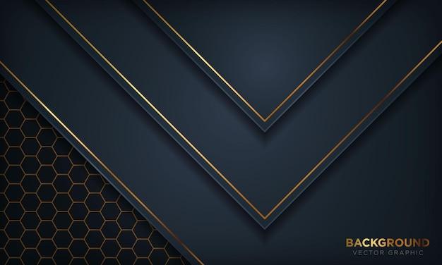 六角形のパターンの背景に金の線で濃い青の紙のスタイル