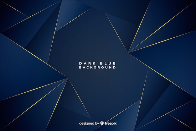 Dark blue polygonal background with golden lines