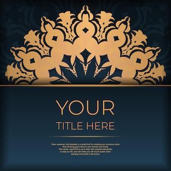 抽象的な曼荼羅の飾りが付いた紺色のポストカードテンプレート。エレガントでクラシックなベクター要素は装飾に最適です。