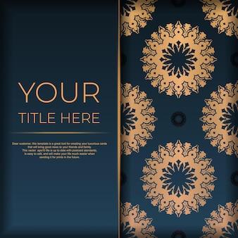 抽象的な曼荼羅の飾りが付いた紺色のポストカードテンプレート。印刷やタイポグラフィの準備ができてエレガントで古典的なベクトル要素。