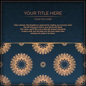 抽象的な装飾が施された紺色のポストカードテンプレート。エレガントでクラシックなベクター要素は装飾に最適です。