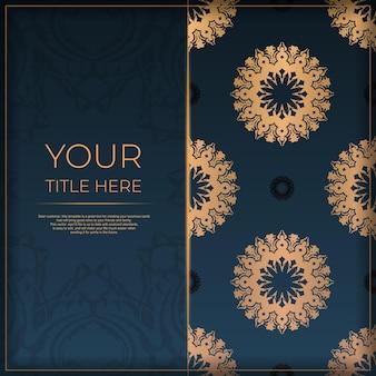 抽象的な装飾が施された紺色のポストカードテンプレート。印刷やタイポグラフィの準備ができてエレガントで古典的なベクトル要素。