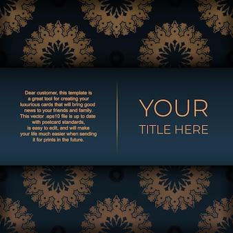 インドの曼荼羅飾りが付いた紺色のポストカードテンプレート。印刷やタイポグラフィの準備ができてエレガントで古典的なベクトル要素。