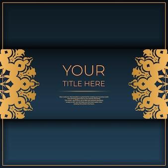 インドの装飾が施された紺色のポストカードテンプレート。印刷やタイポグラフィの準備ができてエレガントで古典的なベクトル要素。