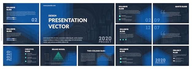 Темно синий шаблон презентации Premium векторы