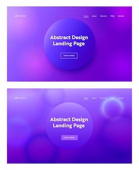ダークブルーパープルピンク抽象的な幾何学的な円の形のランディングページの背景セット。デジタルモーショングラデーションパターン。ウェブサイトのウェブページのための創造的なネオン要素。フラット漫画ベクトルイラスト