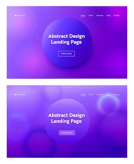 Dark blue purple pink abstract geometric circle shape landing page background set. digital motion gradient pattern. creative neon element for website web page. flat cartoon vector illustration