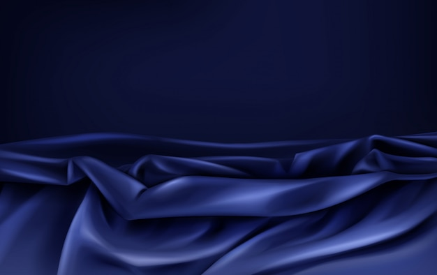 Dark blue satin fabric