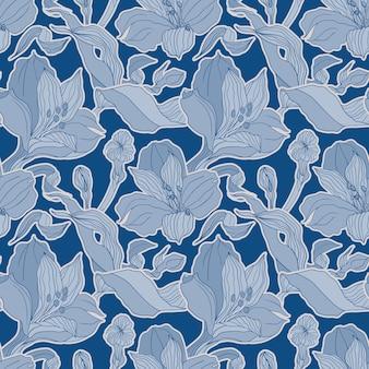 高detalisedアルストロメリアの芽と花と暗い青のシームレスパターン