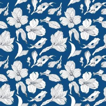 白いアルストロメリアの芽と花と暗い青のシームレスパターン