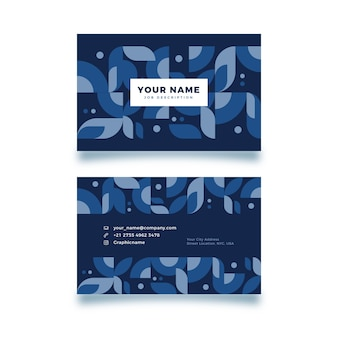Dark blue shapes business card template
