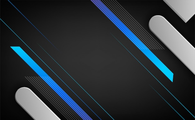 濃い青銀の重層要素3d効果。抽象的なフレームレイアウト技術革新の背景