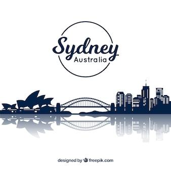 シドニーのダークブルースカイラインデザイン Premiumベクター