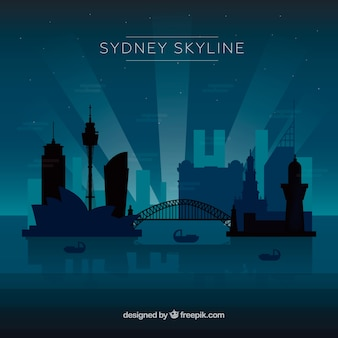Dark blue skyline of sydney