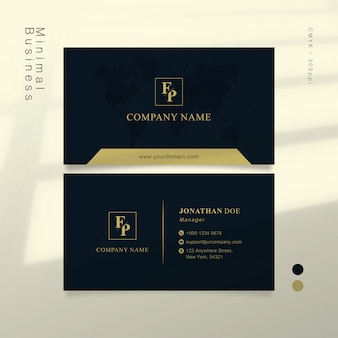 Dark blue and soft gold smart business card