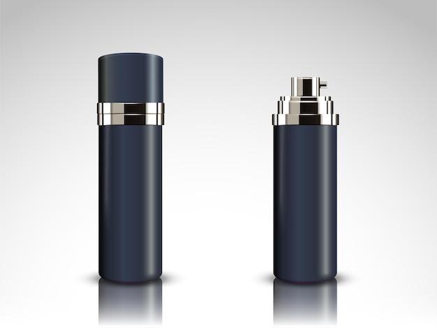 ダークブルーのスプレーボトルのモックアップ、3dイラストの空白のコンテナ