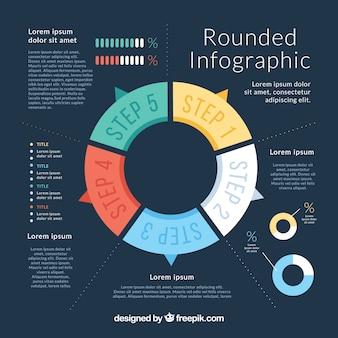 Modello blu scuro con infografica arrotondata