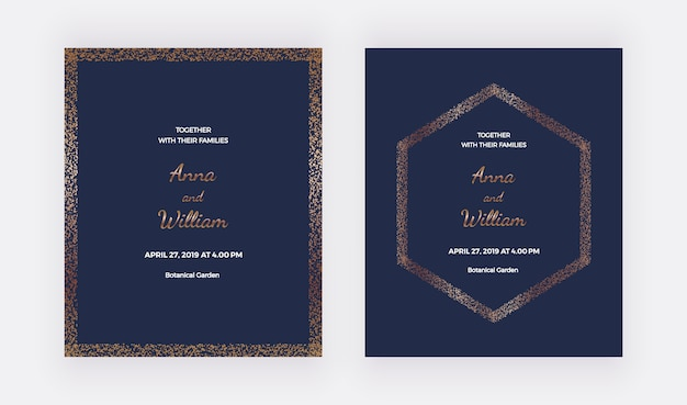 Dark blue wedding invitation cards with gold confetti borders and hexagon frame.