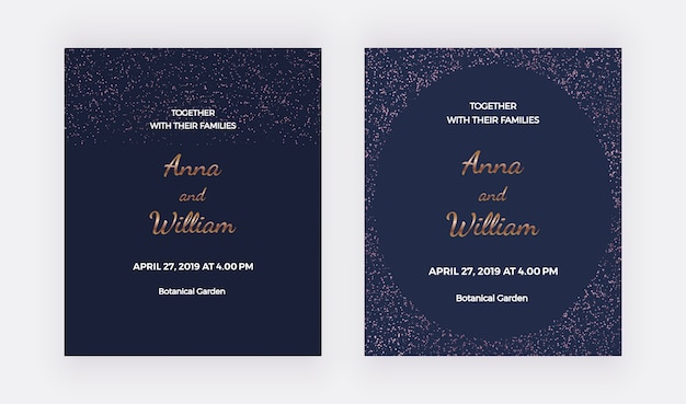 Dark blue wedding invitation cards with rose gold confetti borders frame.