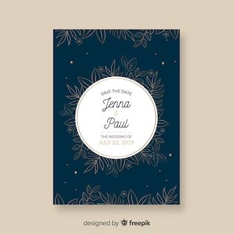 Dark blue wedding invitation template