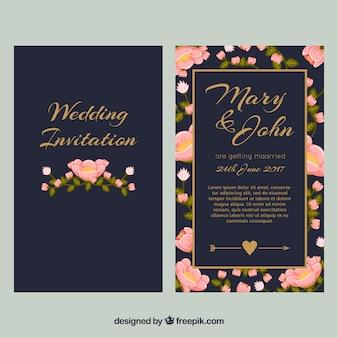 ダークブルーの結婚式招待状とピンクの花