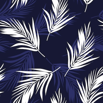 Dark blue and white seamless pattern with palm tree leaves