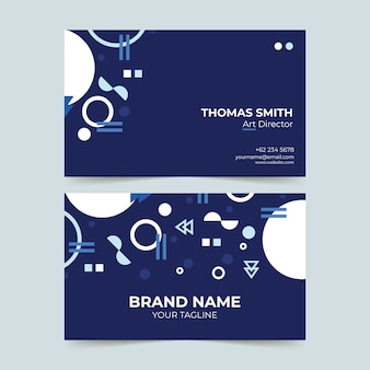 Dark blue with white shapes business card template