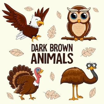 Темно-коричневые животные мультяшный филин турция эму птица