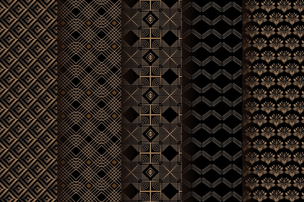 Dark brown art deco pattern template